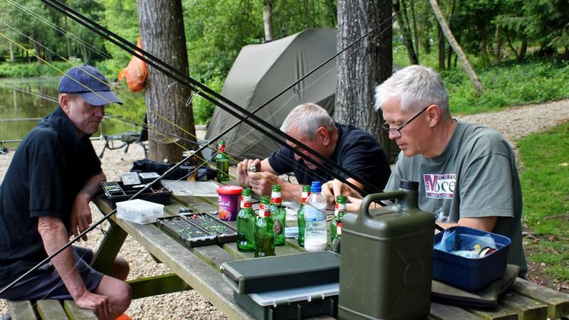hook sharpening session for carp fishing