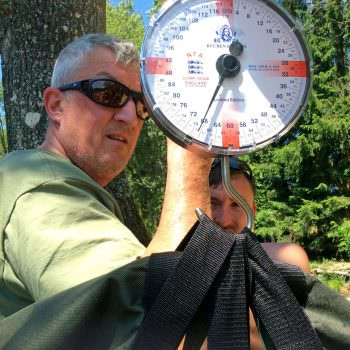 Weighing a catfish