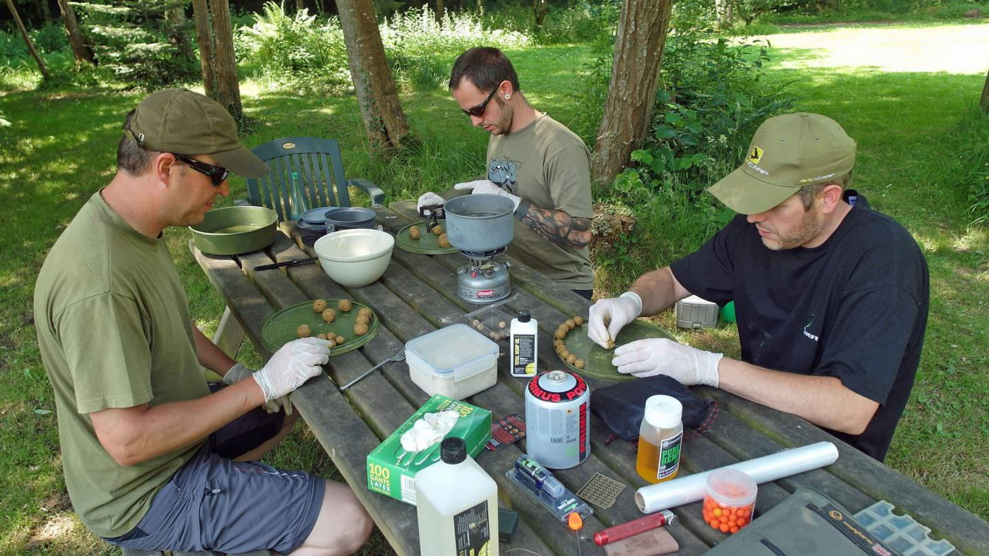 making-baits-by-the-lake-for-a-week-fishing-session
