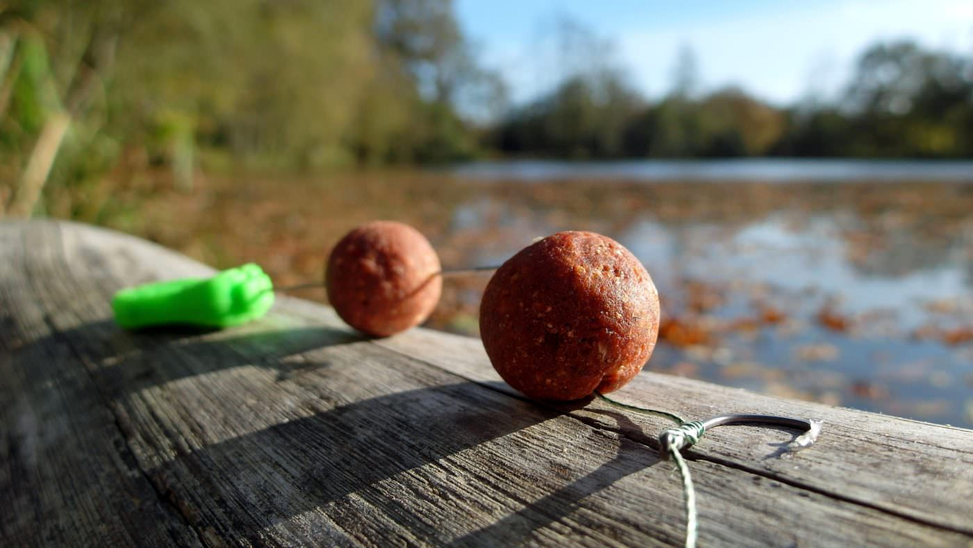 20mm boilies with hook and baiting needle