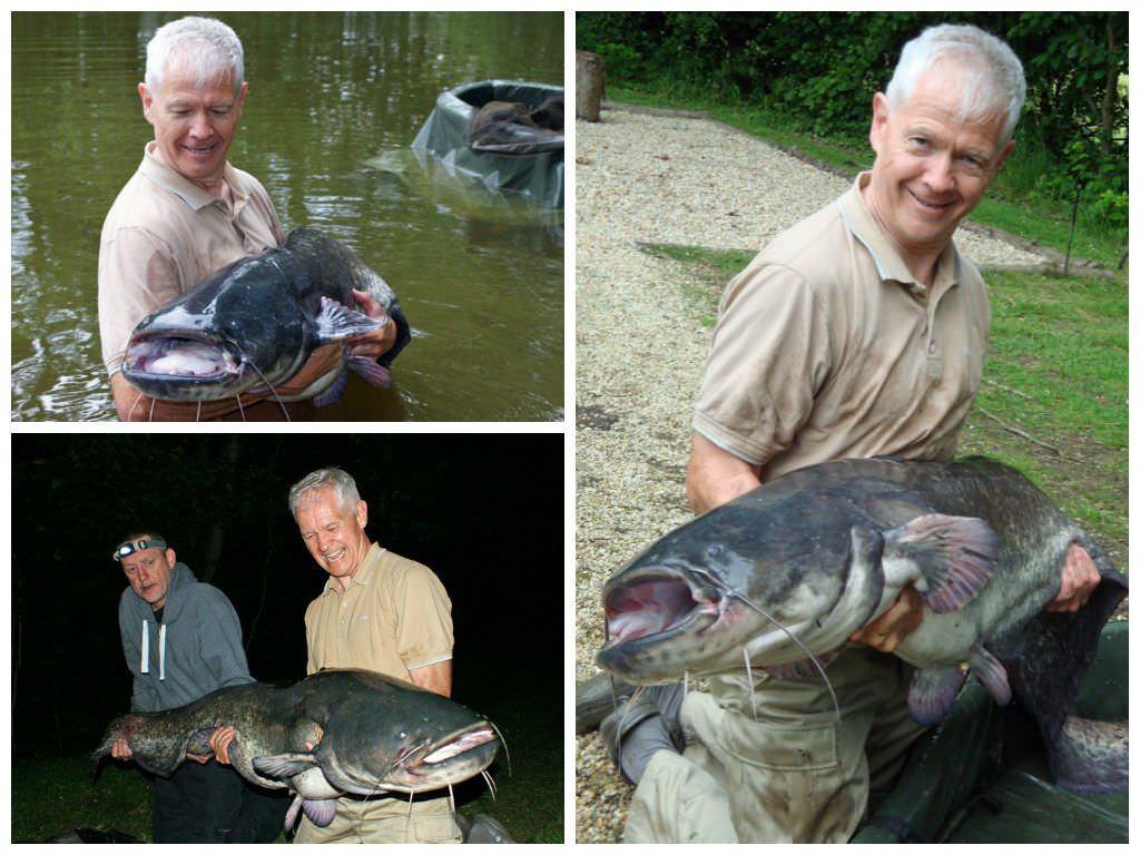 Mark with 3 big catfish from the Beausoleil exclusive lake