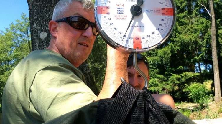 anglers weighing a large catfish