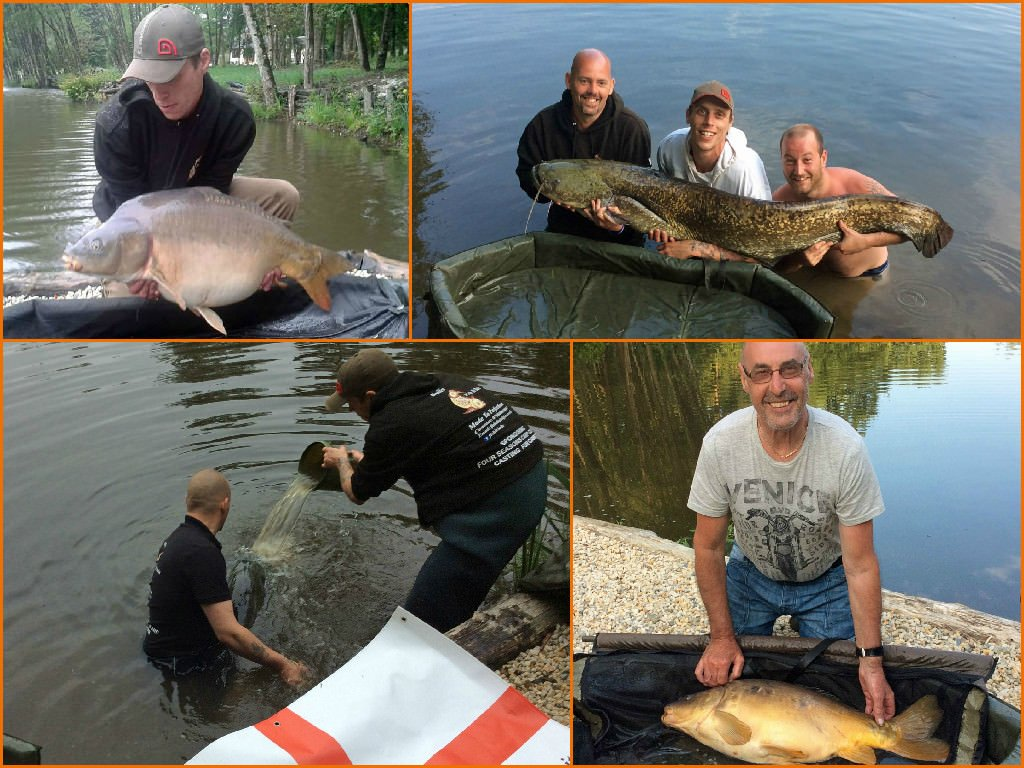 four anglers fishing for carp in france exclusive