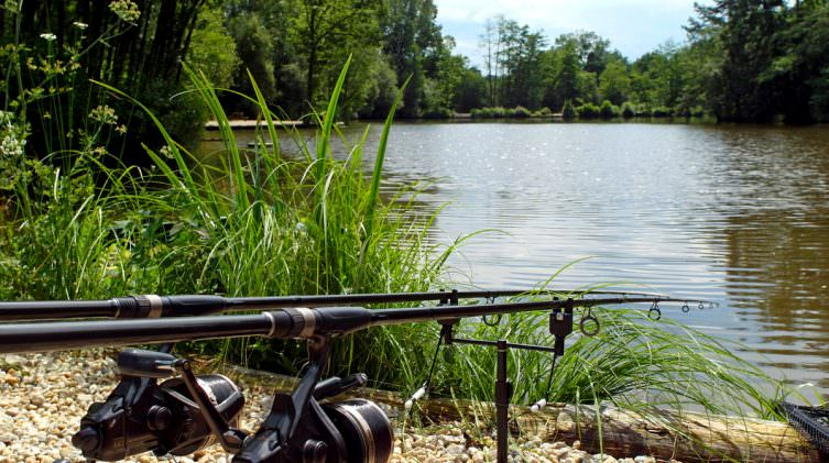 two rods in the lake at french venue