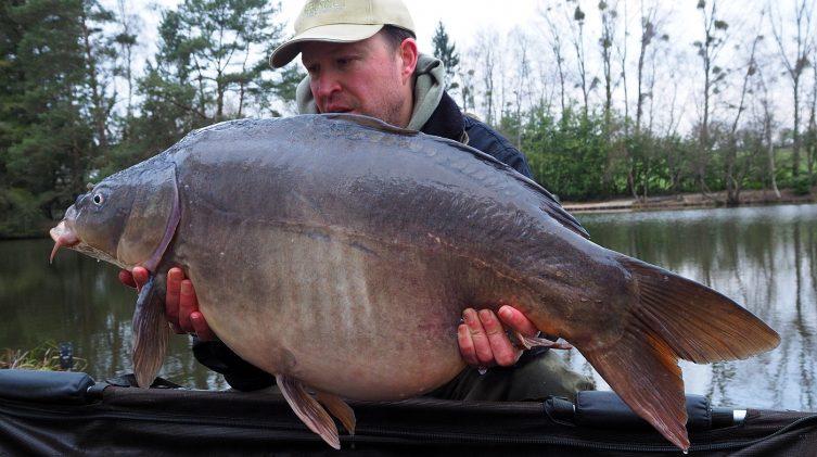 Matt with a 32lbs mirror carp in february