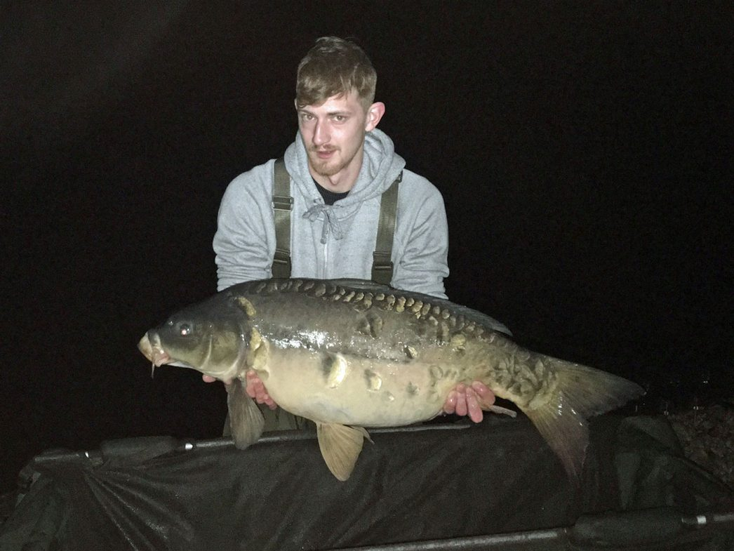 Tristan angler in france with a 29lbs 8oz mirror carp