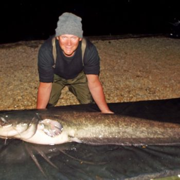 Colin with a 92lbs catfish