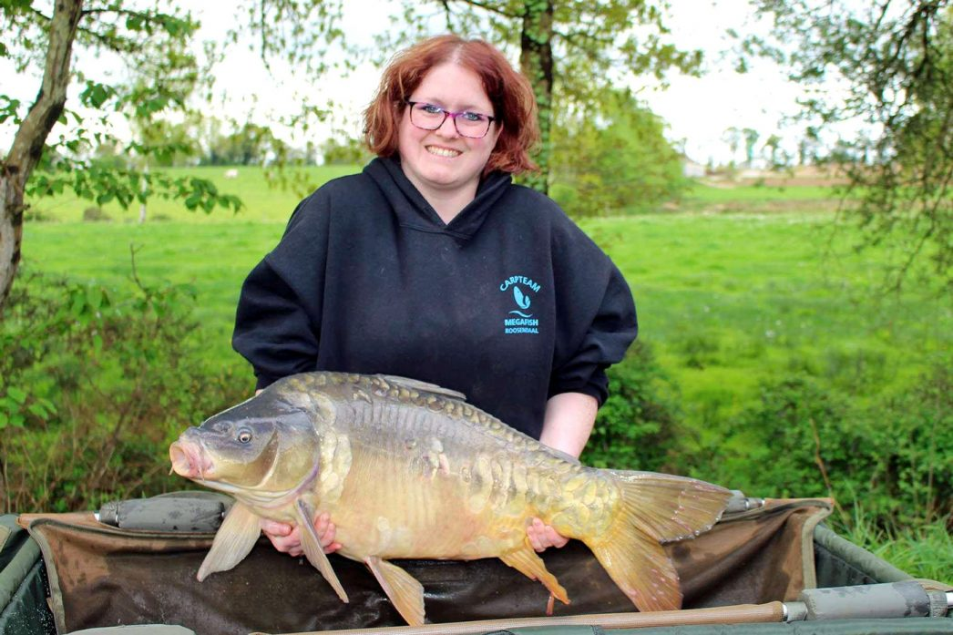 Kim with Nugget a mirror carp of 30lbs