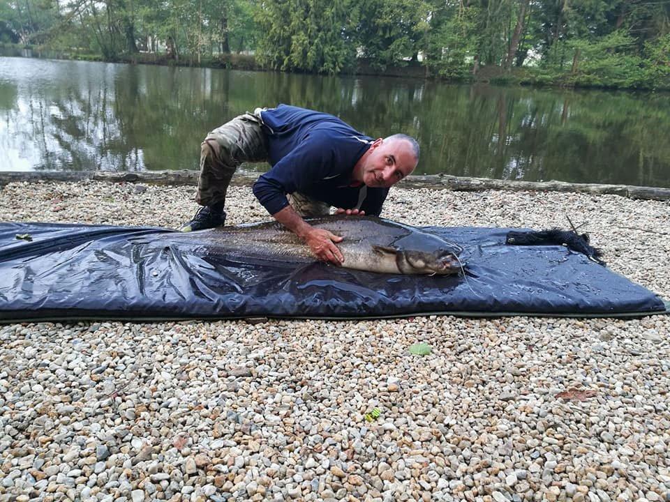 Alan with a 56lb catfish