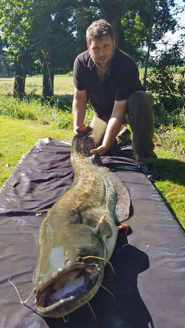 Jay with an 81lb catfish