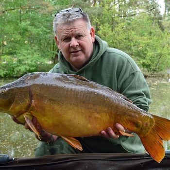 Tony with Coco at 26lbs mirror carp france