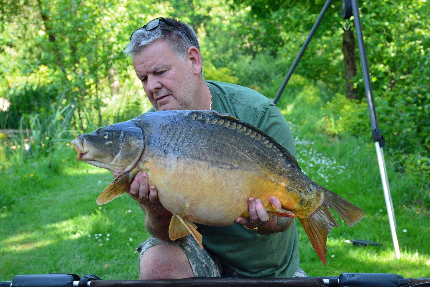 Tony with Split Tail at 26lbs mirror carp france