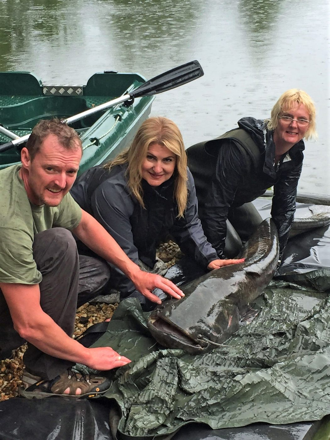 Colin and family with an 108lbs catfish