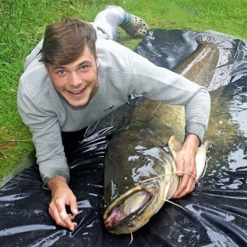 Josh with a 92 pound catfish