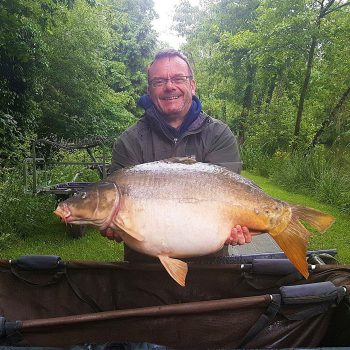 Simon with Split Tail at 26lbs mirror carp france