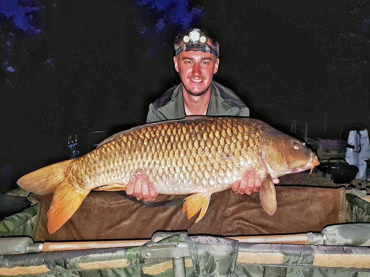 Luke with a 26lb common carp