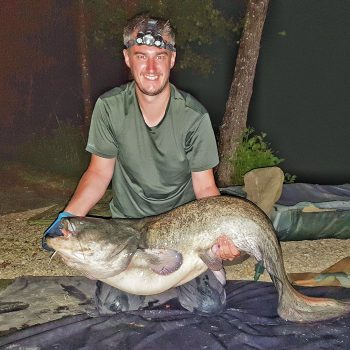 Luke with a 58lb catfish