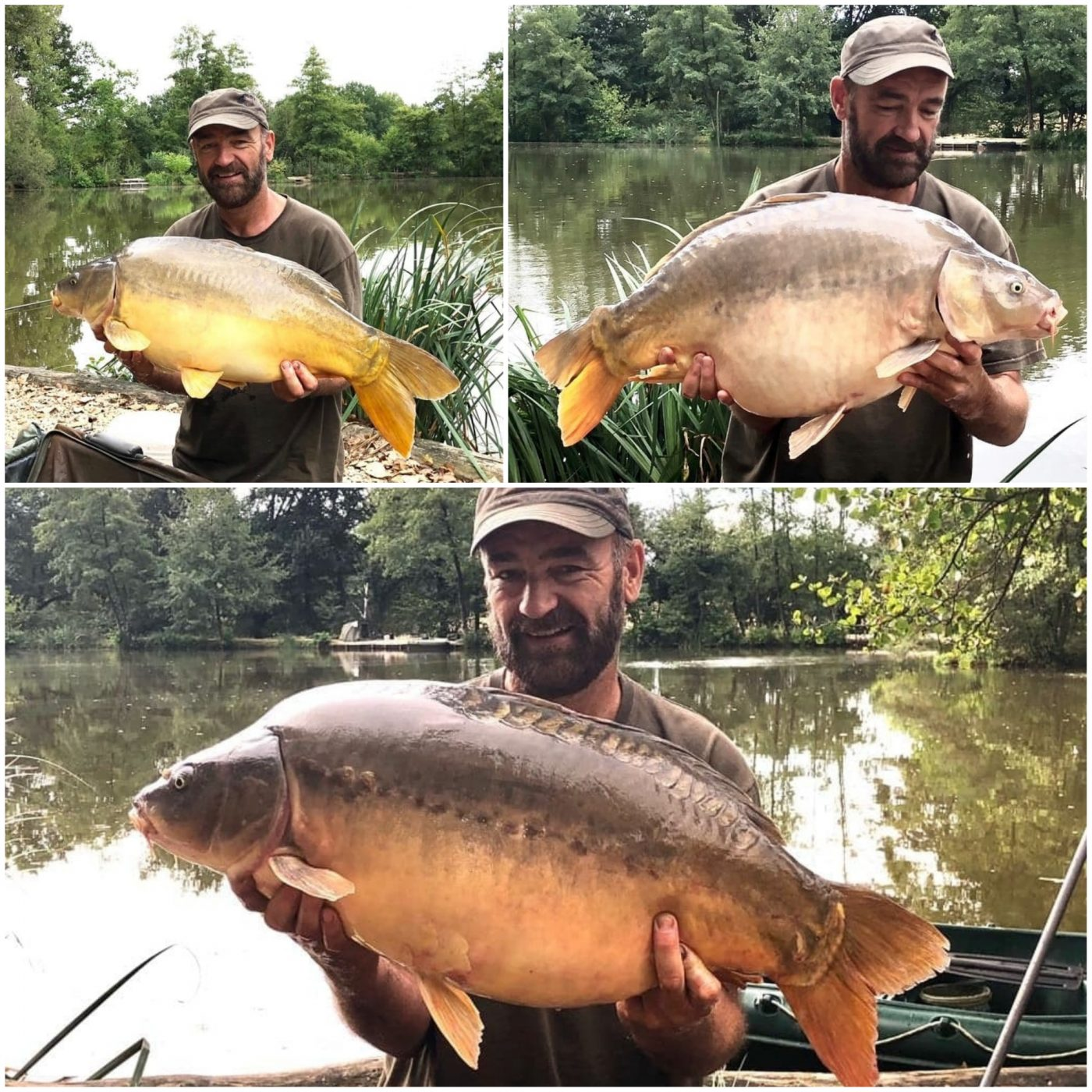 Chris with multiple carp in france on his fishing holiday