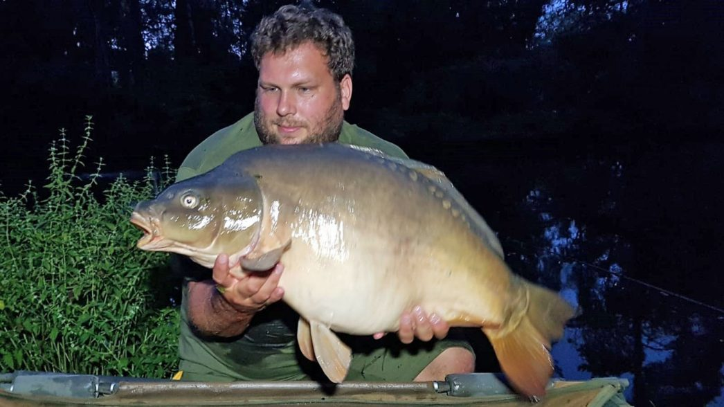Jay with a 32lbs 8oz mirror carp
