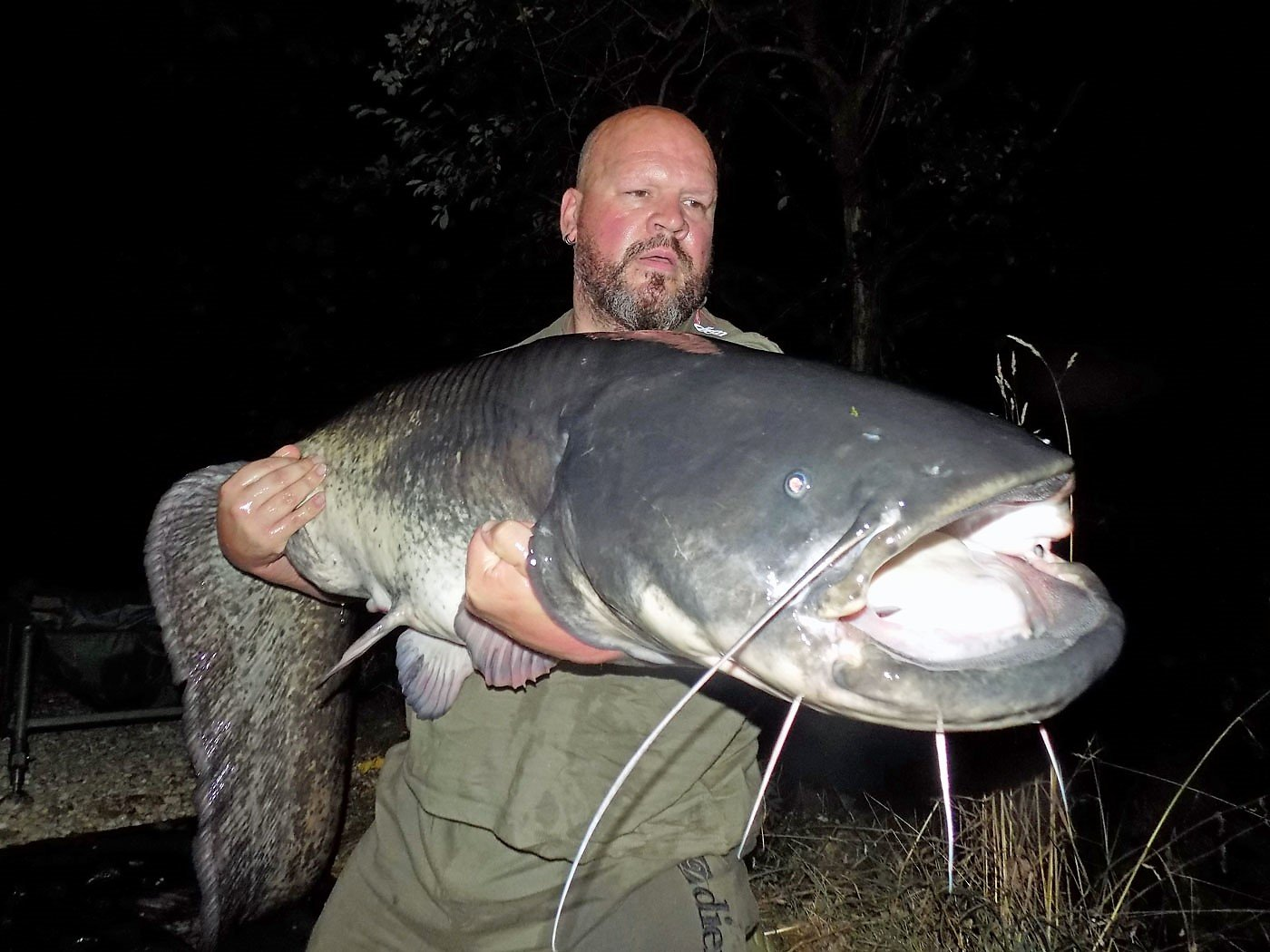 Vinnie with an 80lb catfish