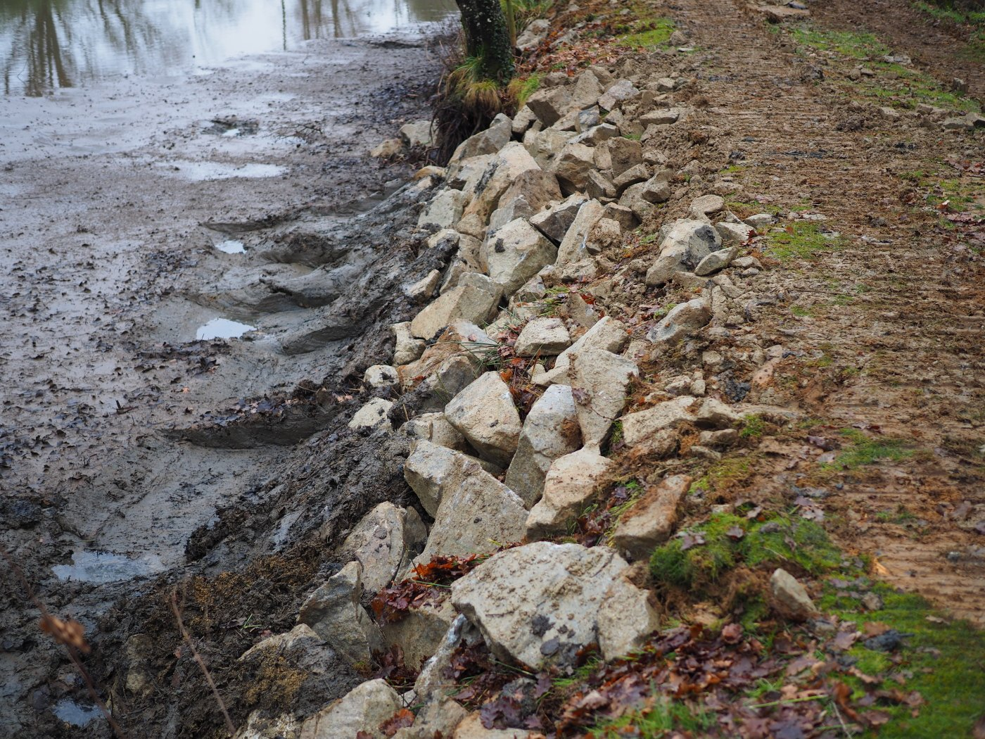 reinforcing the carp lake bank with rocks