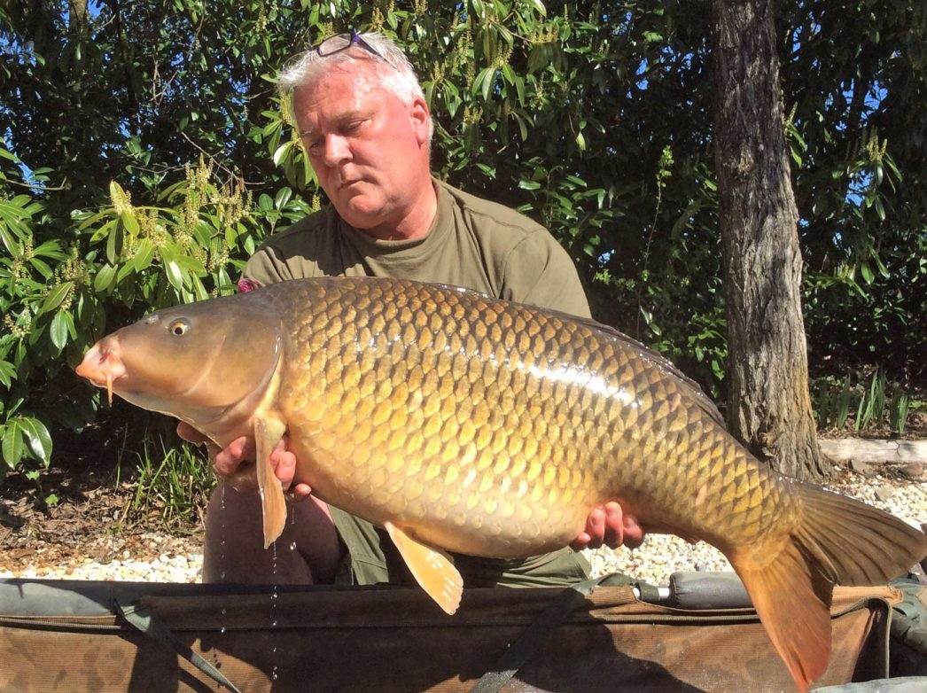 Carp angler in France Nik with a common carp of 37lbs
