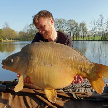 carp fishing in france James with a mirror carp of 36lbs 4oz