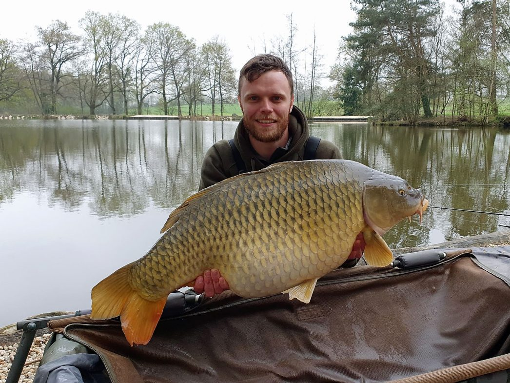 carp fishing in france angler james with a common carp of 31lbs 4oz