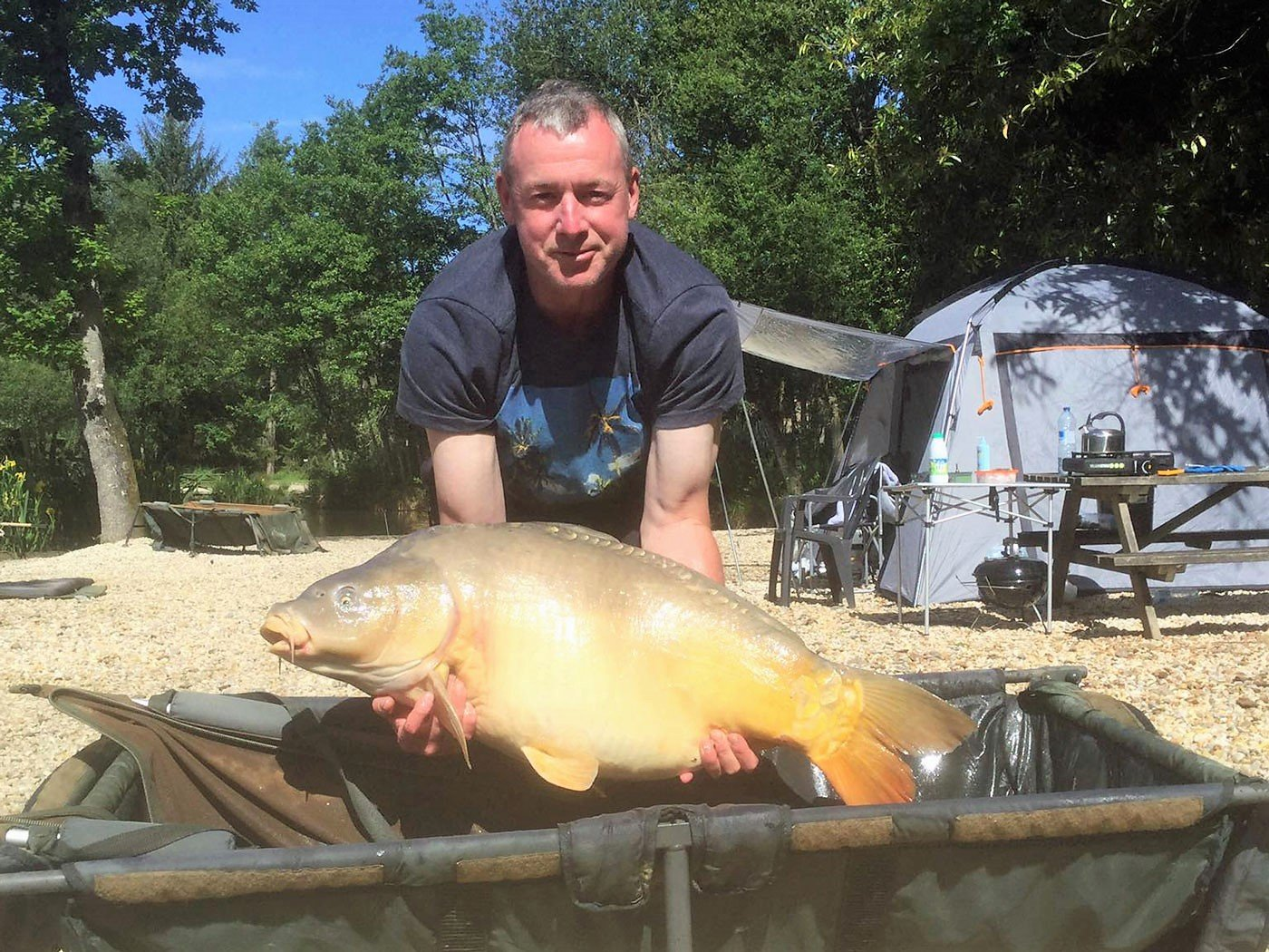 shane carp fishing in france with a mirror carp of 38lbs