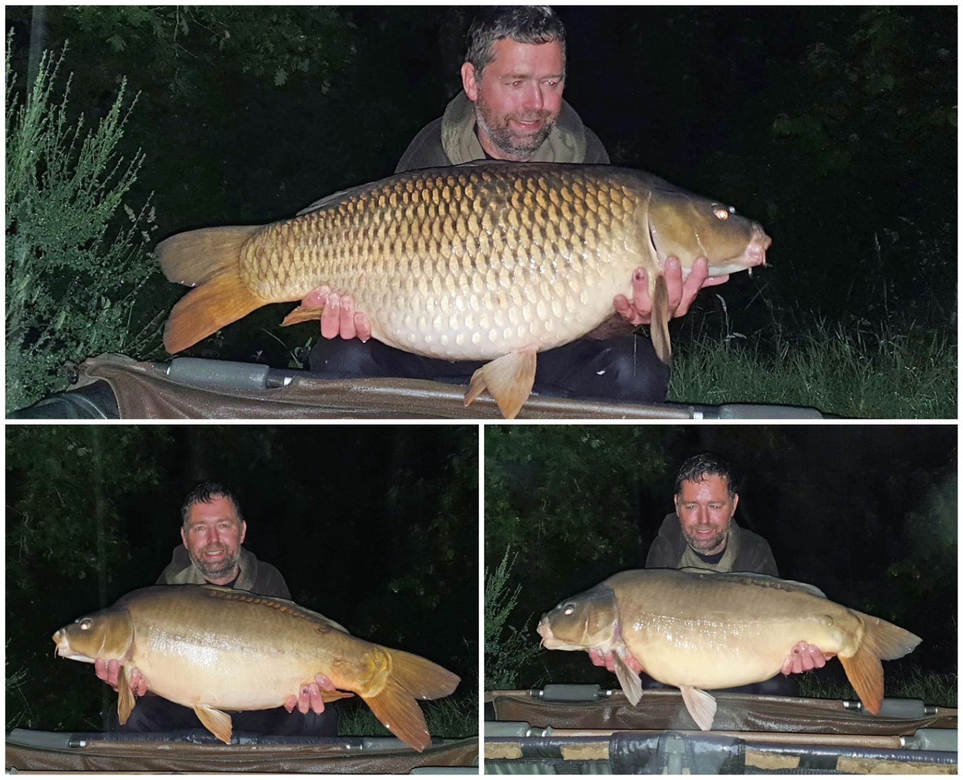 carp angler in france with three carp