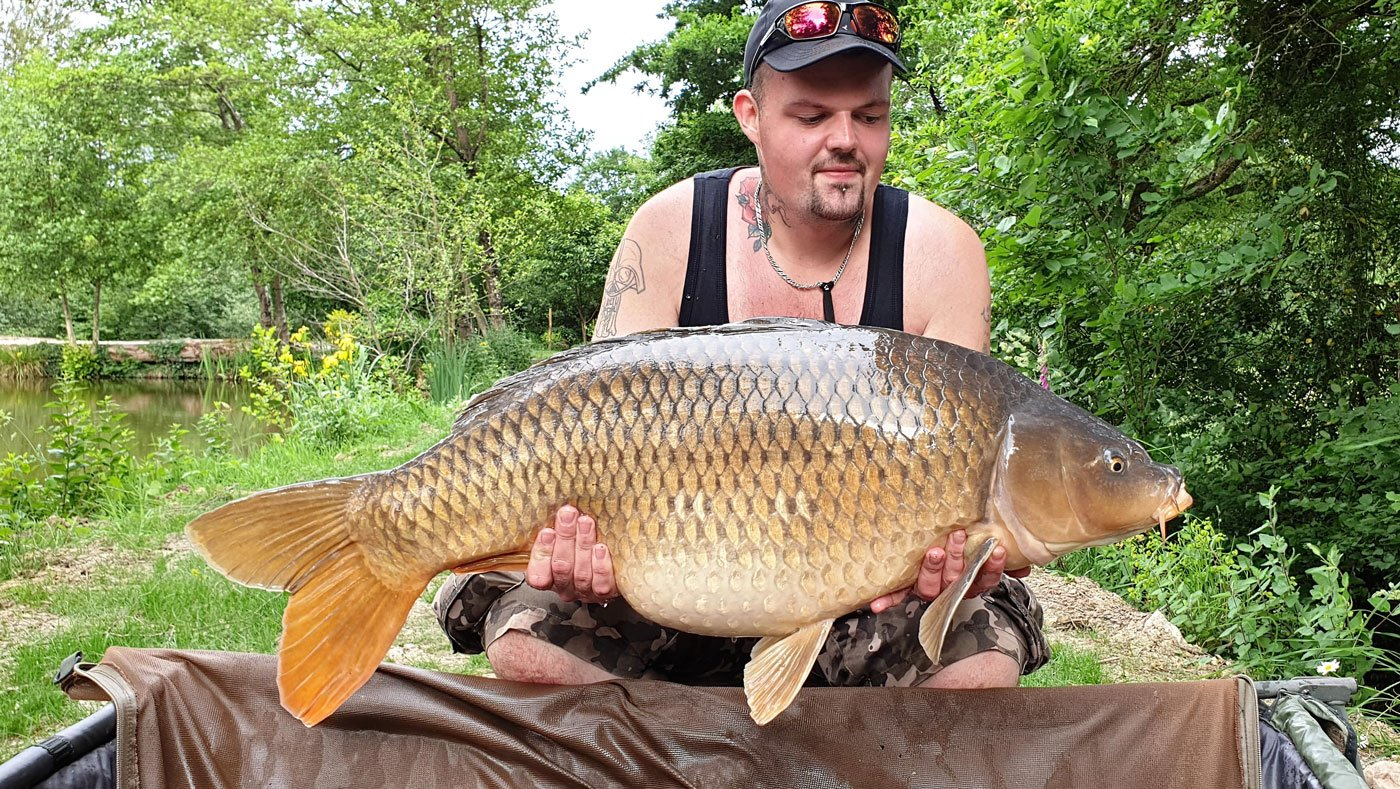 john carp fishing in france with a mirror carp of 39lbs 12oz
