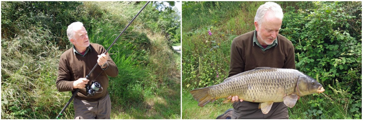 richard carp fishing on the river in france with a common carp
