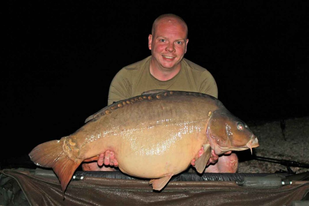 Craig with one of the largest carp in the lake at 42lbs