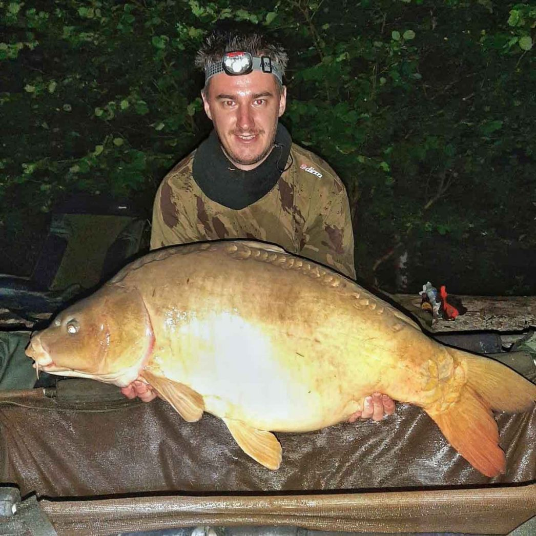 Luke with Dink at 38lbs mirror carp