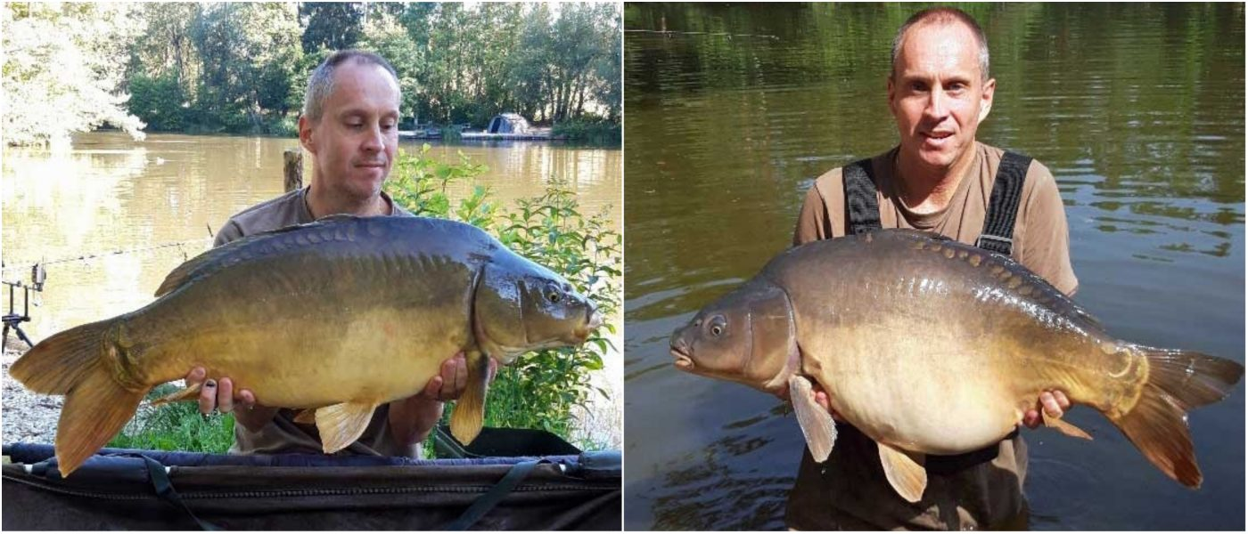 Maurice with two mirror carp in july in france