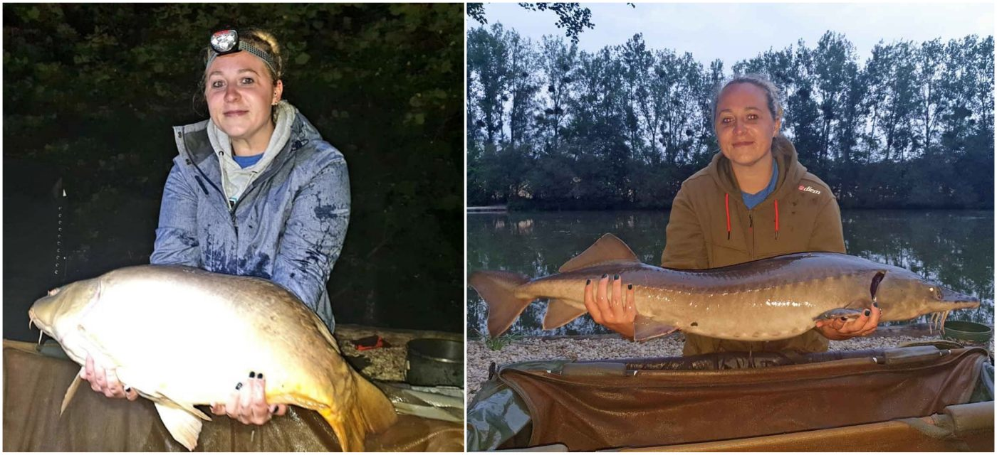 angler sarah with a mirror carp and a sturgeon in france