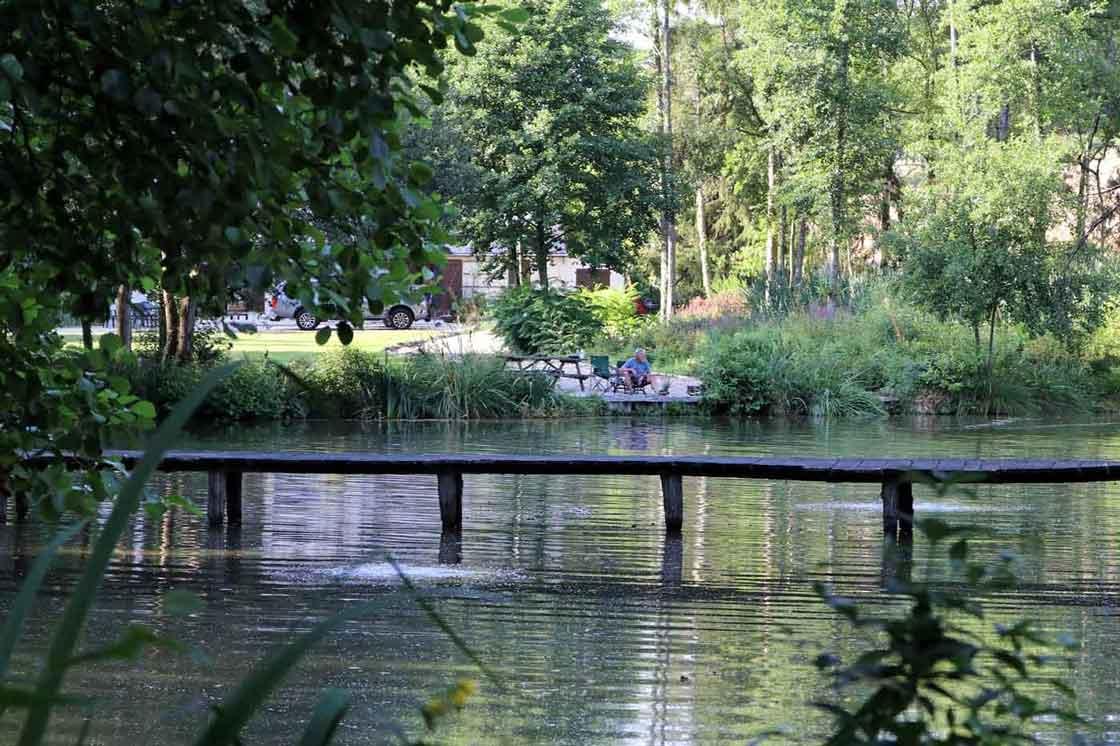 angler fishing in swim in summer