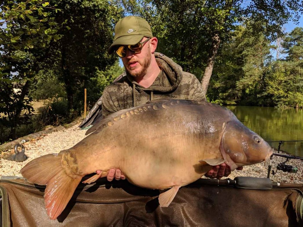 Dan with Cut Tail at 39lbs carp fishing in france