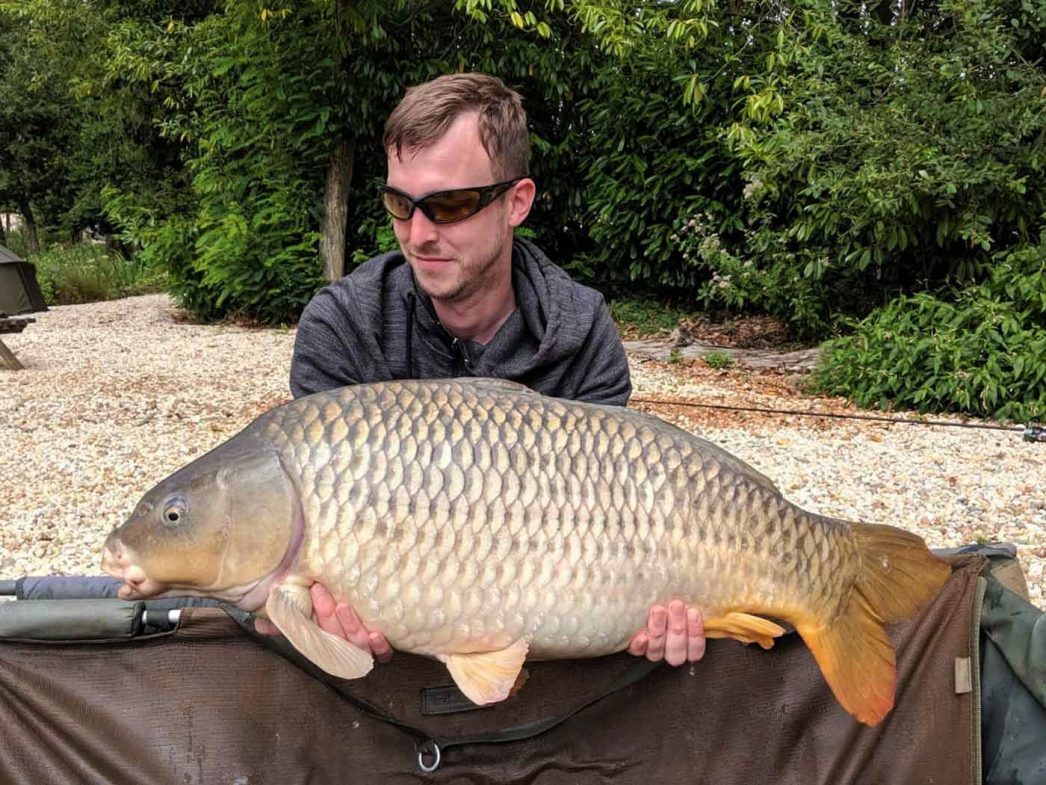 Jon with a 29lb common carp fishing in france