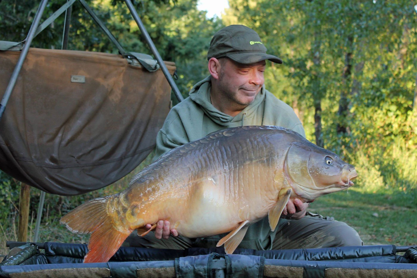 Rob with a 37lbs mirror carp in france