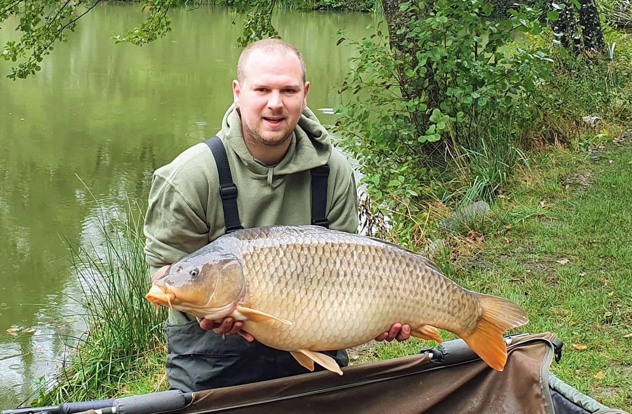 Andy with Red Stripe at 35lbs a common carp