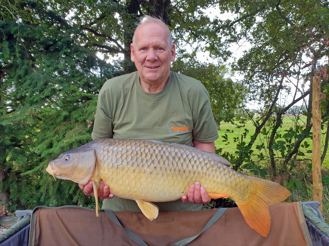 Colin with a 28lb common carp in france